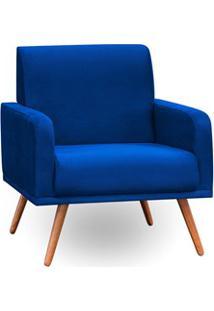 Poltrona Decorativa Pés Palito Carla Suede D05 Azul Marinho - Mpozenat