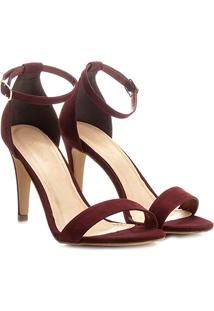 Sandália Couro Shoestock Salto Fino Feminina - Feminino-Bordô