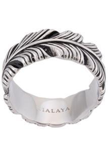 Nialaya Jewelry Anel Com Pluma Gravada - Prateado