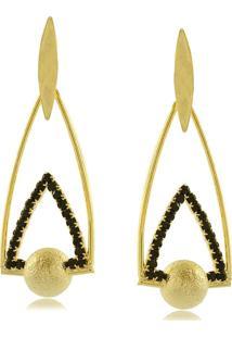 Brinco Triangular Com Esfera Fosca E Cristais Pretos 3Rs Semijoias Dourado