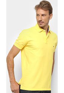 Camisa Polo Tommy Hilfiger Regular Logo Bordado Masculina - Masculino-Amarelo