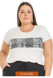 Blusa Feminina Com Faixa Em Paetê Branco