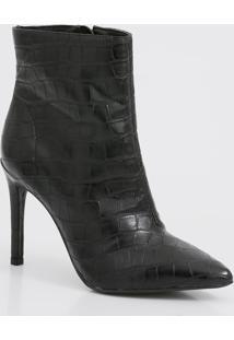 Bota Feminina Ankle Boot Textura Croco Renata Mello