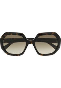 Longchamp Óculos De Sol Octogonal Oversized - Marrom