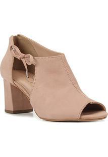 Sandal Boot Couro Shoestock Laço Salto Bloco Feminina - Feminino-Nude