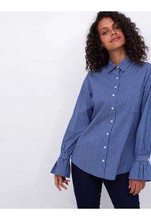 Camisa Tricoline Com Babado No Punho