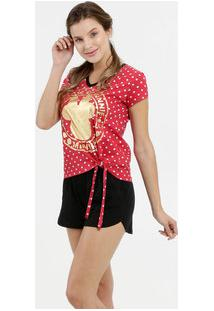 Pijama Feminino Estampa Metalizada Minnie Disney