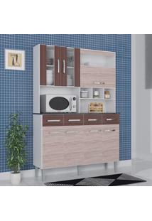 Cozinha Compacta 7 Portas 4 Gavetas Melissa 6280 Amêndoa/Capuccino - Poquema