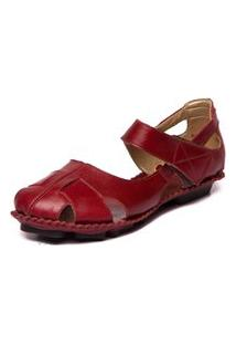 Sandalia Mzq Feminina Vermelha - Amora 5427
