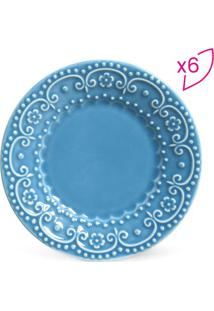Jogo De Pratos Para Sobremesa Esparta- Azul- 6Pçs
