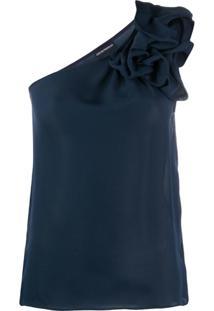 Emporio Armani Blusa Assimétrica Com Babados - Azul