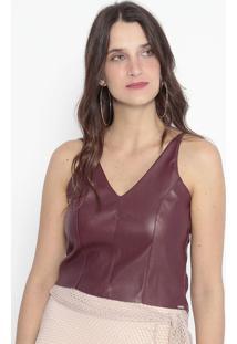 Blusa Cropped Com Recortes - Bordô - Kilometro Quadrkm2