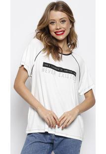 Camiseta Com Inscriã§Ãµes & Recortes - Branca & Preta Forum