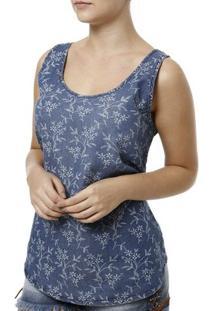 Blusa Regata Feminina Cativa Jeans - Feminino-Azul
