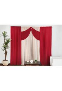 Cortina Império Quarto E Sala 4,00M X 2,80M Vermelho Com Palha