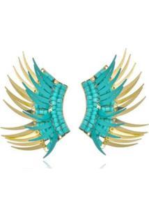Brinco Le Diamond Escamas - Feminino-Azul Turquesa