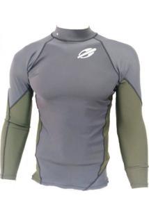 Camiseta Lycra Mormaii Extra Line Cinza/ Verde Escuro