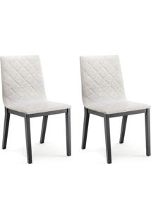 Conjunto Com 2 Cadeiras De Jantar Bogor Ebanizado E Cinza Escuro