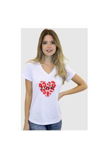 Camiseta Suffix Blusa Branca Sem Estampa Basica Gola V Estampa Coração Love