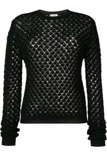 Saint Laurent Glittery Crochet Jumper - Preto