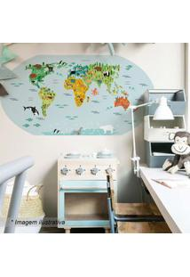 Grudado Adesivo De Parede Mapa Kids Azul & Verde 131X65Cm