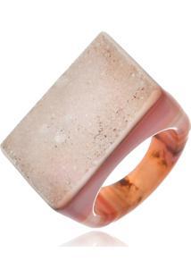 Anel Le Diamond Pedra Natural Àgata E Drusa