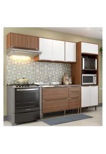 Cozinha Compacta Multimóveis Com 4 Peças Calábria 5457 Nogueira/Branco Marrom