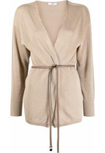 Peserico Cardigan Com Amarração Na Cintura - Neutro