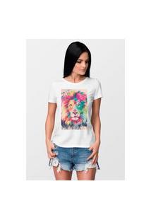 Camiseta Feminina Mirat Watercolor Lion Branca