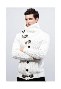 Cardigan Masculino Elegante Gola Rolê - Branco