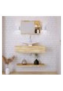 Conjunto Para Banheiro Bancada Com Cuba F44 Folha, Prateleira E Espelheira City 806 Carvalho