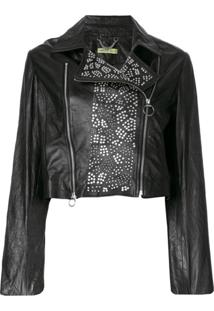 Versace Jeans Jaqueta Biker Com Tachas - Preto