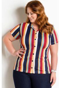 Camisa Com Botões Plus Size Listrada 521f90045b1