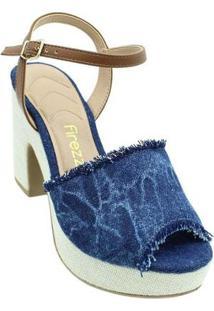 Sandália Firezzi Peep Toe Jeans Feminina - Feminino-Azul+Bege
