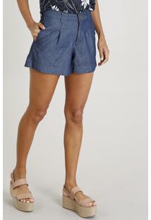 Short Jeans Feminino Alfaiatado Azul Escuro