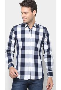 Camisa Xadrez Watkins&Krown Masculina - Masculino-Azul+Branco