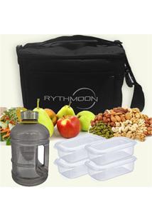 Kit Bolsa Térmica Tipo Keeppack Preta + Mini Galão Água Preta + 4 Refeições Rythmoon - Unissex