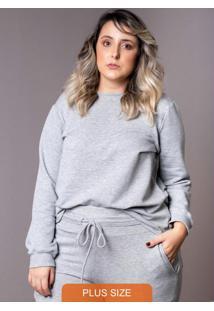 Blusa Moletom Plus Size Cinza