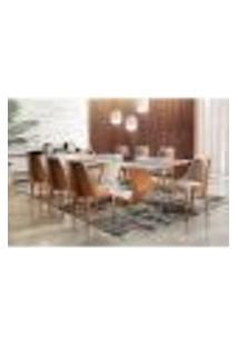 Conjunto De Mesa De Jantar Ane Com 8 Cadeiras Esmeralda Ii Linho Off White E Caramelo