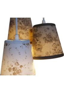 Luminária Triplo Floral Crie Casa Bege E Branco