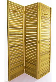 Biombo Madeira Dominoes 3 Asas Stain Amarelo - 150X3,5X179 Cm