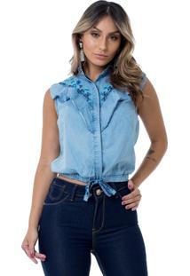 Camisa Moikana Jeans Babados C/ Bordado Unico