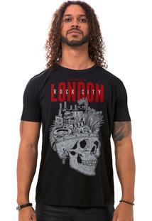Camiseta Masculina London Rock City Preto B