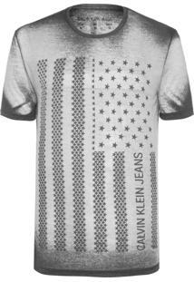 Camiseta Masculina Estampa Bandeira Usa - Preto