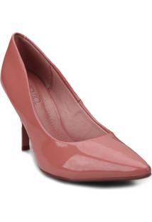 Sapato Scarpin Beira Rio Verniz Premium Feminino - Feminino-Rosa