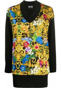 Versace Jeans Couture Blusa Longa De Tricô Com Estampa Floral Barroca - Preto