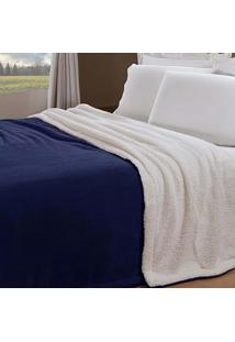 Manta Cobertor Solteiro Flannel/Sherpa Andreza Dupla Face Azul