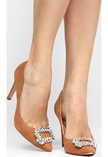 Scarpin Couro Shoestock Pedraria - Feminino-Nude