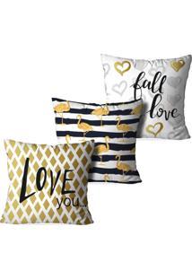 Kit 3 Capas Love Decor Para Almofadas Decorativas Love You Multicolorido Amarelo