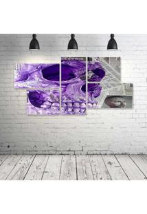 Quadro Decorativo - Skull-Newspaper-(2) - Composto De 5 Quadros - Multicolorido - Dafiti